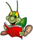 счастливый зеленый клоп читатель — Cтоковый вектор
