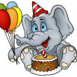 Stock Vector: Sitting Elephant and Birthday Cake