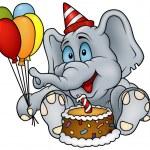 Sitting Elephant and Birthday Cake — Stock Vector