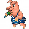 Piglet with Microphone — Stock Vector