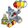 Hippo and Balloons — Stock Vector