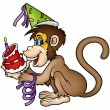 Monkey and Birthday Cake - Stok Vektör