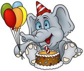 Sitting Elephant and Birthday Cake — Stock Vector