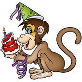 Monkey and Birthday Cake — Stock Vector