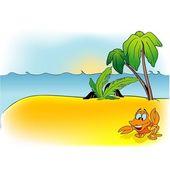 岛和蟹 — 图库矢量图片