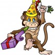 Stock Vector: Monkey and Birthday Party