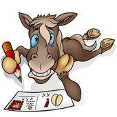 Häst och vykort — Stockvektor