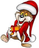 Santa Bear and Gift — Vettoriale Stock