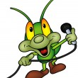 Happy Green Bug DJ — Vektorgrafik