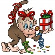 Monkey and Gift — Stock Vector #2953875