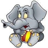 Éléphant et boule — Vecteur