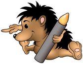 Hedgehog and Wax Crayon — Stock Vector