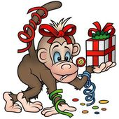 Monkey and Gift — Stock Vector