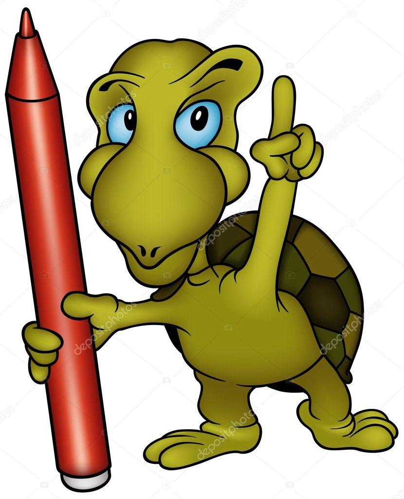 龟画家-彩色快乐卡通插画