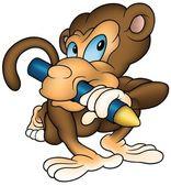 Monkey Painter — Stock Vector