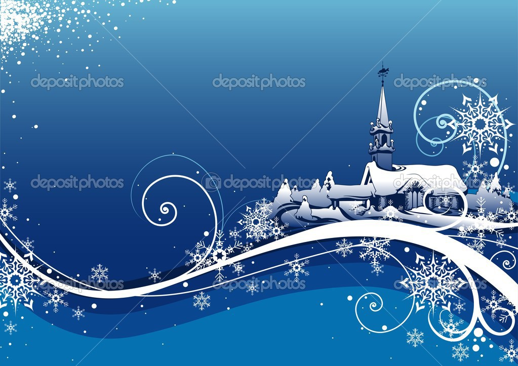 Abstract Blue Xmas - colored abstract illustration, vector — Stock Vector #3019804
