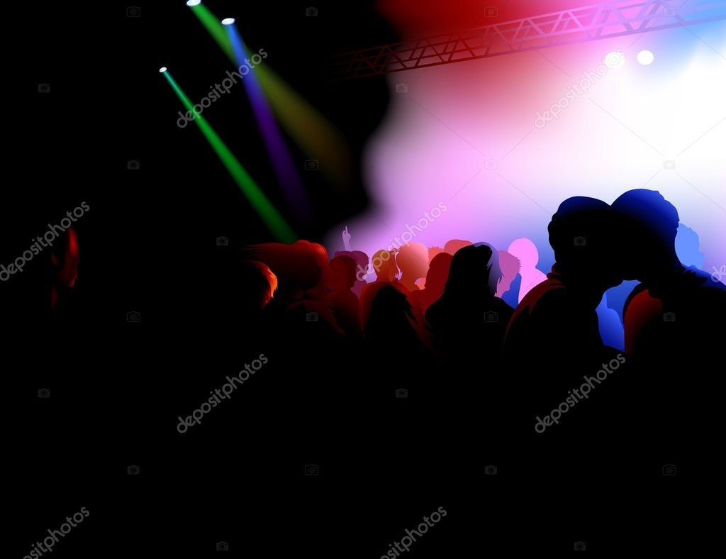 Dance Party - colored background illustration, vector  Stock Vector #3019821