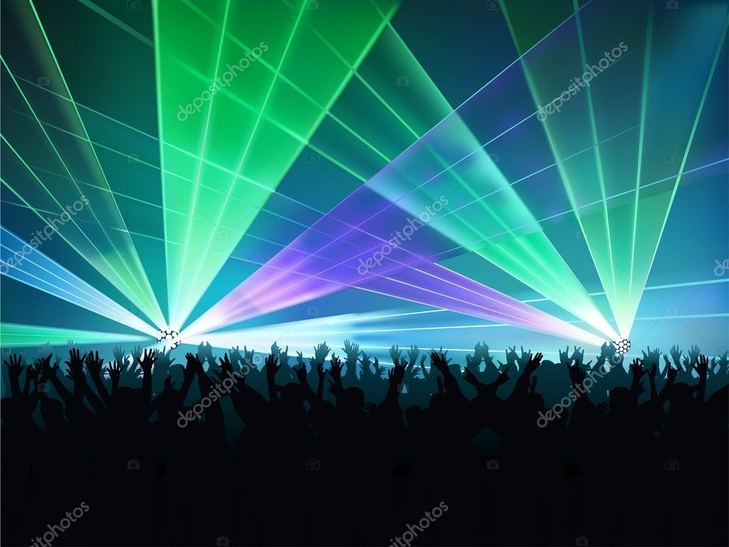 Big Laser Show - colored background illustration, vector — Stock Vector #3029543
