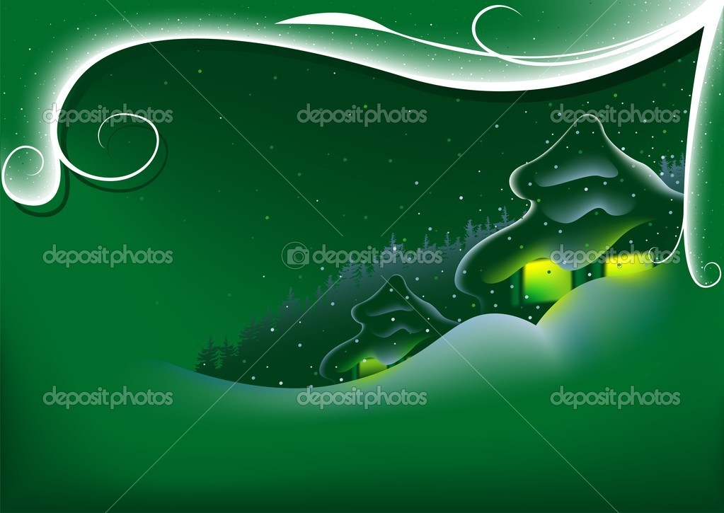 Abstract Green Xmas - colored abstract illustration, vector — Stock Vector #3029623