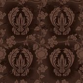 Dark Brown Floral Pattern — Stock Vector