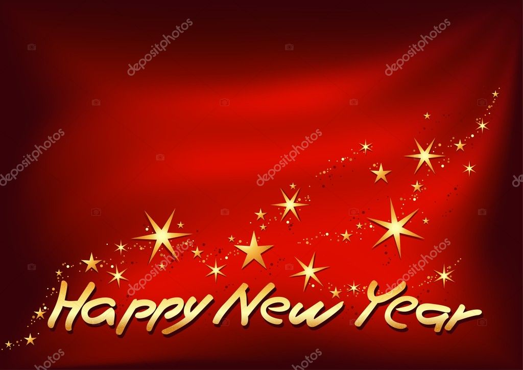 Happy New Year - colored abstract illustration, vector  Stock Vector #3040314