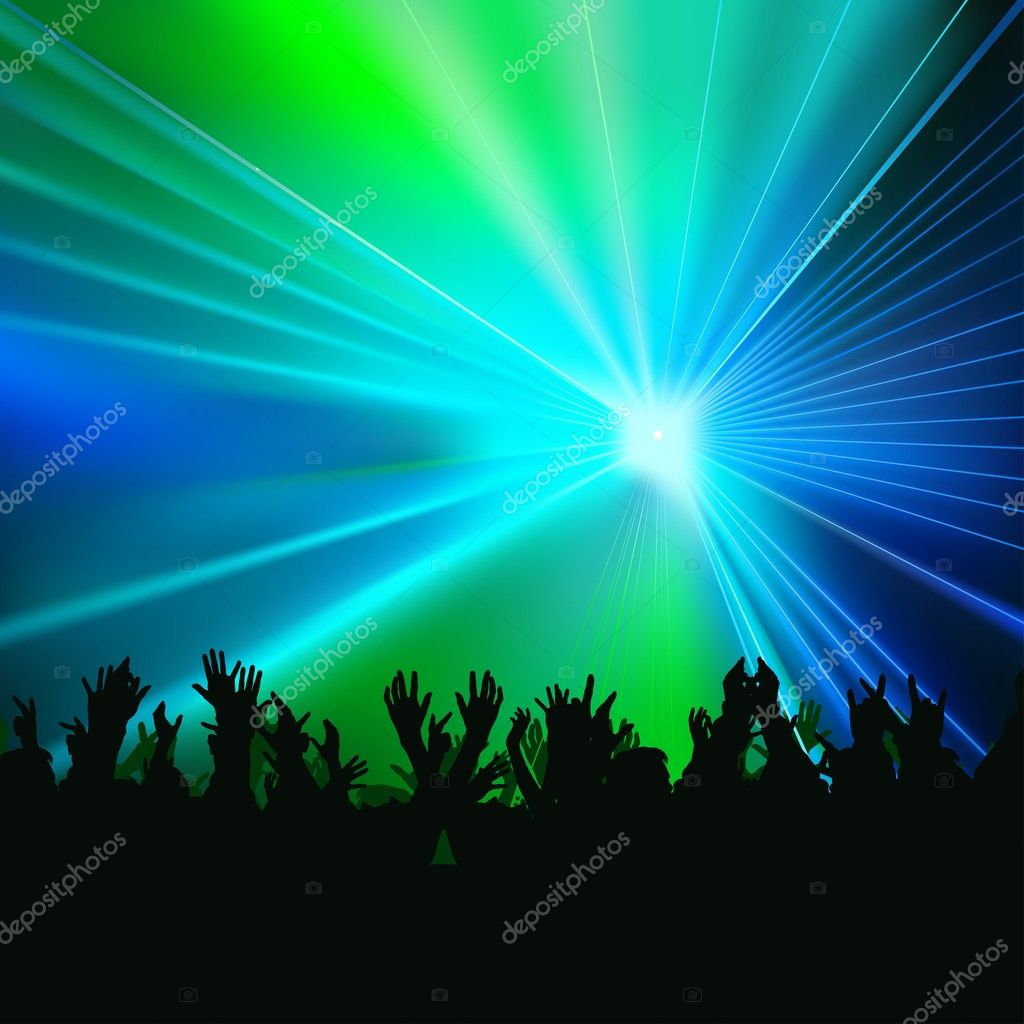 Laser Show - colored background illustration, vector — Stock Vector #3044022