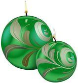 Velas de navidad verde — Vector de stock