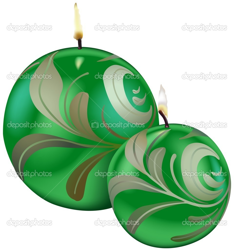 Green Christmas Candles - colored illustration, vector — Stock Vector #3058423