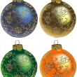 Stock Vector: Christmas Balls with Florals