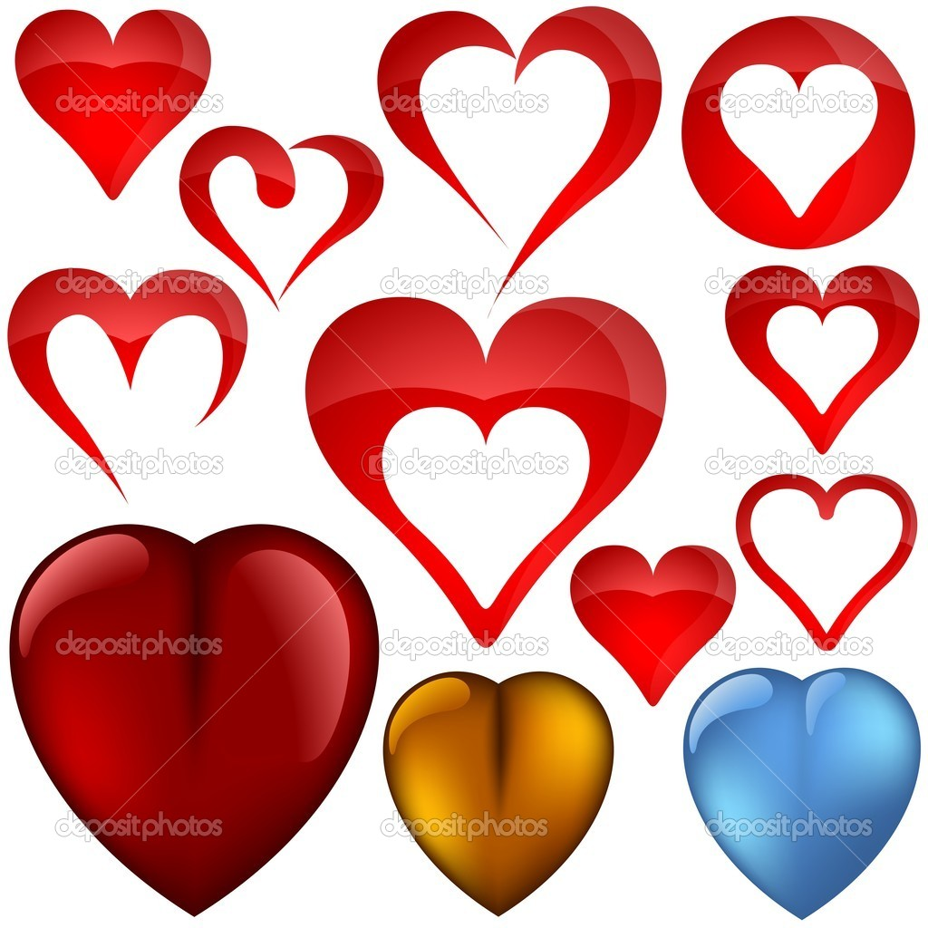 Heart Icons - colored illustration, vector — Stock Vector #3069056