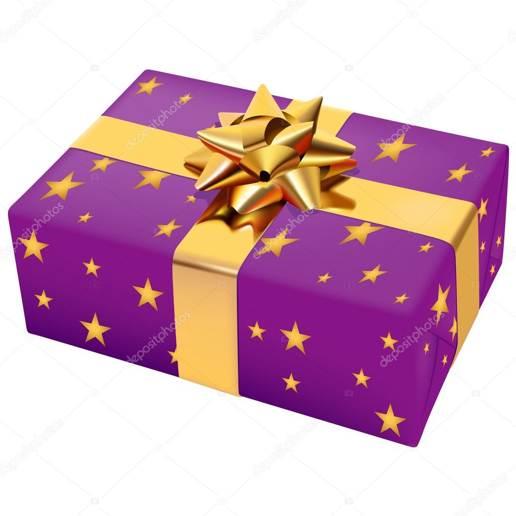 Violet Christmas Present - colored illustration, vector — Stock Vector #3079319