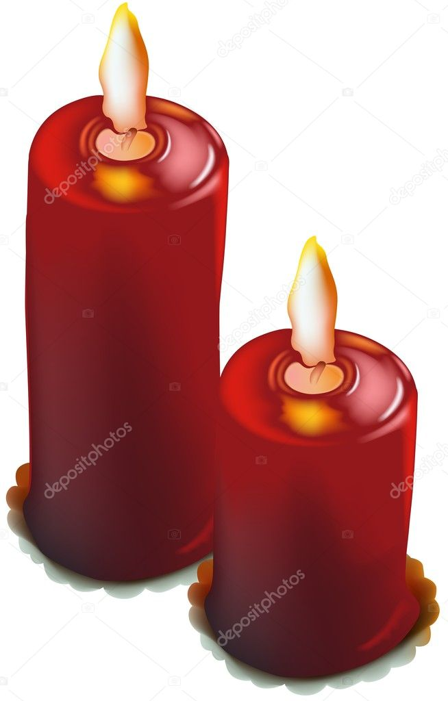 Red Christmas Candles - colored illustration, vector — Stock Vector #3079333