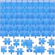 Stock Vector: Blue Glassy Puzzle
