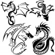 Tattoo Dragons — Stock Vector