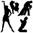 Dance Silhouettes - Stock Vector