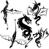 Tatuaje dragones — Vector de stock