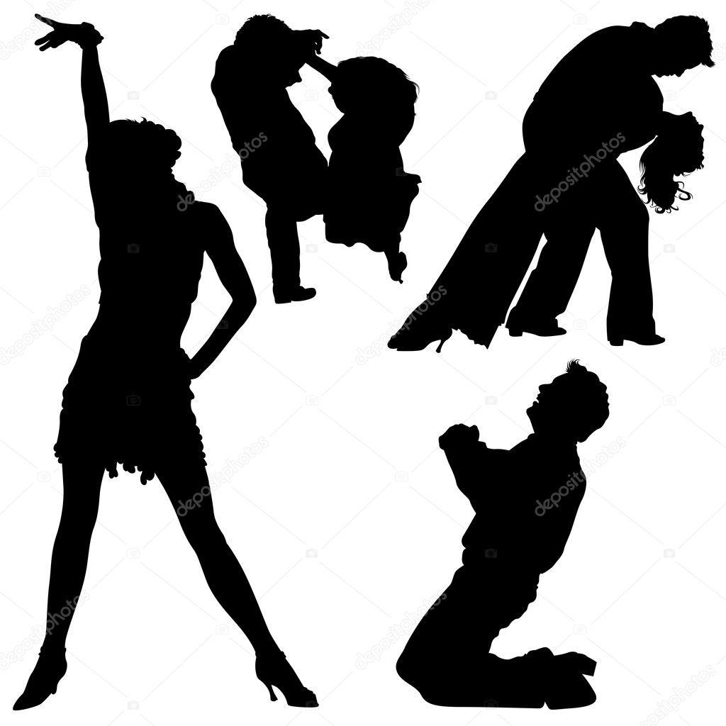 舞蹈剪影 — 图库矢量图像08
