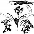 Stock Vector: Tattoo Dragons