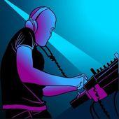 Disc Jockey Mixing Music — Stock Vector