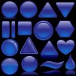 Blue Glass Buttons — Stock Vector