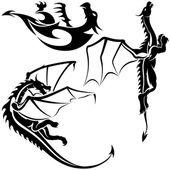 Tattoo Dragons — Stock Vector