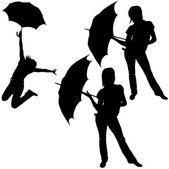 Girl Posing with Umbrella — Stock Vector
