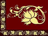 Red Floral Border — Cтоковый вектор