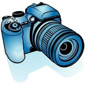 Blue Digital Camera — Stock Vector