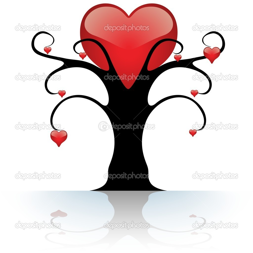 Heart Tree - colored abstract illustration, vector — Stock Vector #3135686