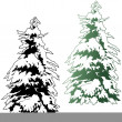 Snowy Coniferous Tree - Stock Vector