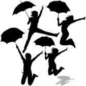 Girl Jumping with Umbrella — Stock Vector