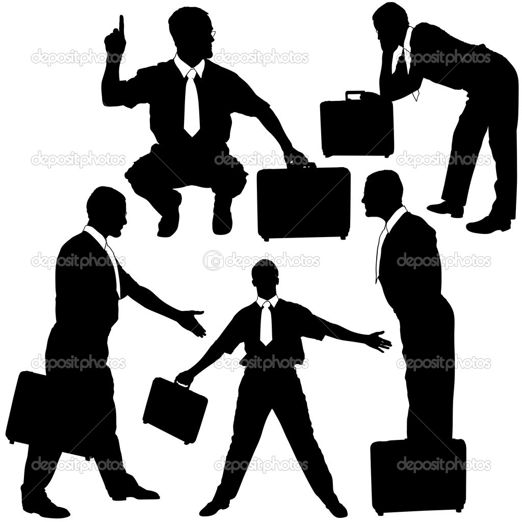 Solicitor - black business silhouettes, vector — Stock Vector #3143175