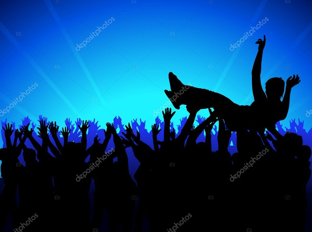 Music Audience - Background with silhouettes, vector — Stock Vector #3143179
