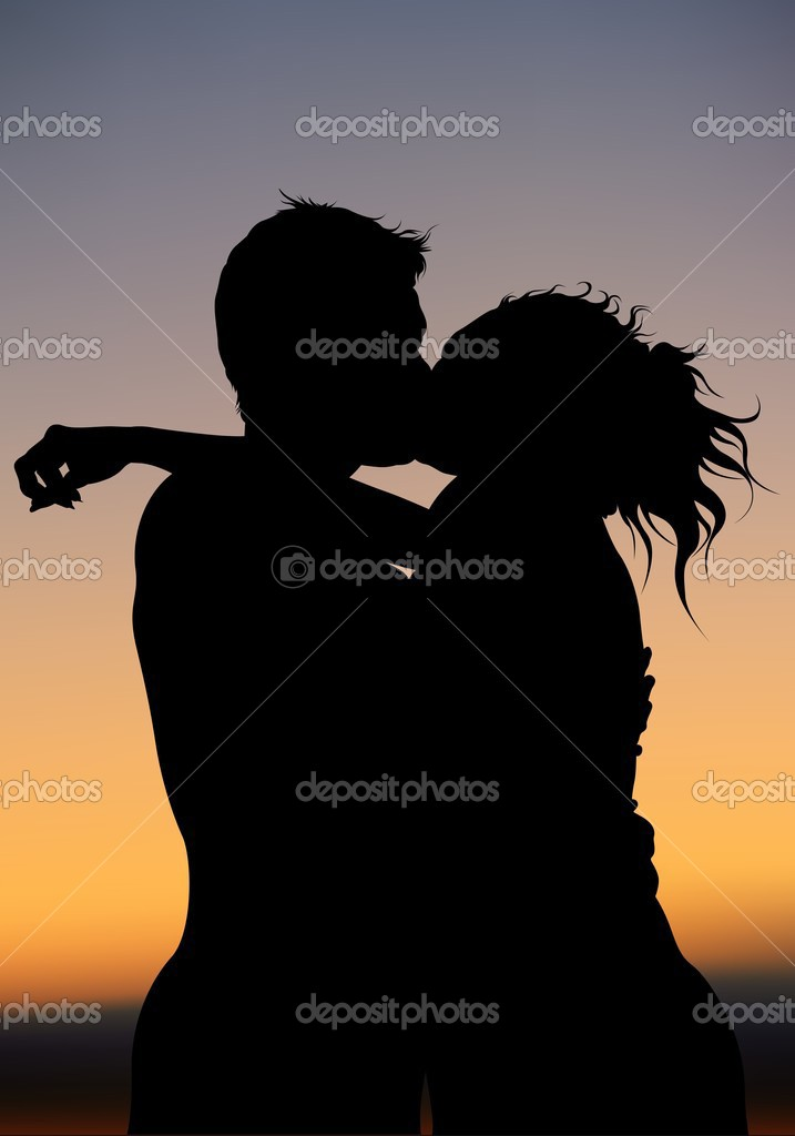 Good Night Kiss - colored background illustration, vector — Stock Vector #3154954